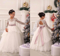Wholesale Party Princess Brown - 2016 New Arabic Flower Girls Dresses Princess Long Sleeves Backless Lace Communion Party Sashes Pageant Dresses with Belt flower girls