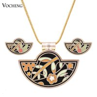 Wholesale Fantasy Jewelry - Geometric Fantasy Series 18K Gold Plated Copper Metal Hand Painted Spiral of Live Enamel Jewelry Set (Vs-276) Vocheng Jewelry