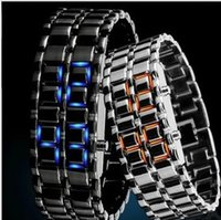 Wholesale Samurai Iron Steel Blue - 2014 New Fashion Men Women Lava Iron Samurai Metal LED Faceless Bracelet Watch Wristwatch Stainless Steel Novelty for Gift, free shipping
