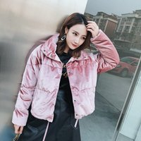 Wholesale Korean Snow Jacket - 2017 Korean Thick Warm Down Jacket Velvet Down Coat Snow Winter Clothing Short Outwear High Quality Pink Blue