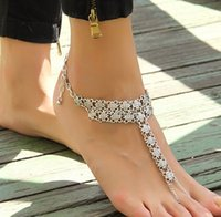 New Design Gypsy Antique Silver Hollow Flower Turkish Coin Anklet Bracelet Foot Foot Jewelry 12 peças / lotes