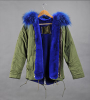 Wholesale Dog Collar Women - Real pictures blue fur MR mrs itlay canvas parka Mr & Mrs furs rabbit fur lined mini parka With Raccoon fur