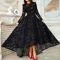 Wholesale Elegant Evening Gowns Capped Sleeves - Vestido Black Long A Line Elegant Prom Evening Dress Crew Neck Long Sleeve Lace Hi Lo Party Gown Special Occasion Dresses Evening Gown