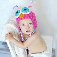 bebek el yapımı örgü tığ işi şapkaları toptan satış-Mix colorsToddler Baykuş Tığ Örgü Yünlü Earflap Şapka Bebek El Yapımı tığ Şapka çocuk el yapımı 10 adet / grup Çocuk bebek Aksesuarları ba145