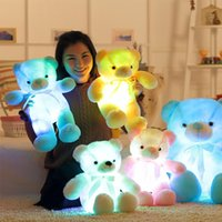 Wholesale light up teddy bear - 50cm Creative Light Up LED Teddy Bear Stuffed Animals Plush Toy Colorful Glowing Teddy Bear Christmas Gift for Kids OTH691