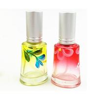 Wholesale Online Bottle - Flower Print Portable Perfume Bottle 10ml Empty Glass Perfume Atomizer Refillable Women Makeup Containers Online DC750