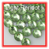 Wholesale-SS6 1.9-2.0mm, 1440pcs / Bag Peridot DMC hotfix flatback Rhinestones, die Wärmeübertragung Hot Fix zum Aufbügeln Bekleidungs ​​grüne Kristalle