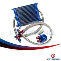 Wholesale Oil Cooler Row - PQY STORE-BLUE 15 ROW AN-10AN UNIVERSAL ENGINE OIL COOLER KIT + ALUMINUM HOSE END KIT PQY5128