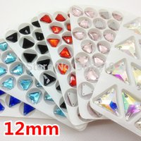 Wholesale Siam Fancy Stone - Wholesale-More Colors 192pcs 3270 Triangle 12mm Crystal Sew On Fancy Stone 3holes Sewing Crystal Beads Lt Siam,Sapphire,Aquamarine,AB