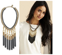 Wholesale Chunky Double Necklace - Promotion National Accessories Vintage Metal Alloy Black Tassel Necklace Black Water Layers Jewelry Chunky Double Chain SXL0535