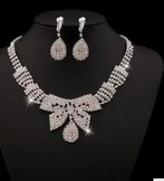 ingrosso matrimonio 88-bianco cristallo farfalla sposa sposa set necklce earings (88) dfeef