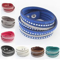 Wholesale leather beaded wrap bracelets wholesale - Wholesale-New Fashion Punk Charm Bracelets Leather Multilayer Bangles Wrap Wristband Cuff Crystal Rhinestone Bracelet Bangle t594