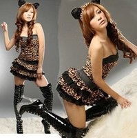 Wholesale Sexy Bunny Lingerie Cosplay - cosplay 151204 Leopard Sexy Bunny Latex Adult Catsuit Costume Lingerie Products Catsuits Uniform Dress For Women