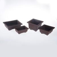 suministros de vivero ollas al por mayor-Lavabo De Plástico Maceta Balcón Cuadrado Flor Bonsai Tazón Vivero Macetas Cuenca Maceta Jardín Suministros ZA5116