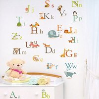 Wholesale English Alphabet Letters - Cute Animals Alphabet Kids Room Wall Decal Sticker A to Z English Letter Removable Wall Art Mural Decor Sticker