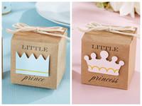 doğum günü partisi dekorasyonu prens toptan satış-(100 ADET / GRUP) 2016 Bebek Prens Küçük Şekeri Kraft Şekeri Kraft Favor Kutuları bebek doğum günü Partisi Için Hediye kutusu ve bebek Dekorasyon şeker kutusu