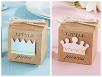 decoraciones de la fiesta de cumpleaños del príncipe al por mayor-(100 UNIDS / LOTE) 2016 Baby Shower Favors of Little Prince Kraft Cajas de Favor Para la fiesta de cumpleaños del bebé Caja de regalo y decoración del bebé caja de dulces