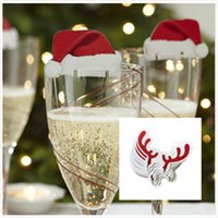 Wholesale Wholesale Corduroy Hats - Red Wine Glasses Hat Antlers deer Paper Xmas Hat Christmas Decorations Champagne Wine Glass Insert Caps Christmas Paper Card Hat Sign Flag