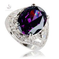 Wholesale beautiful amethyst for sale - Group buy Time limited discount Punk Noble Generous MN543 sz Amethyst Cubic Zirconia Beautiful Copper Rhodium Plated for women Rings Best Sellers