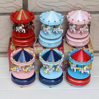 Wholesale Horse Swing - 5pcs Carousel Music Box Bless Animated 4 Horse Wooden Merry-Go-Round Musical Swings Carousels Classic Music Box 2016 Hot Toys For Kids