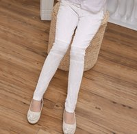 Wholesale Thick Lace Leggings - 2016 Spring Autumn Big Girls Thick Pants Lace Elastic Leggings for Dress Children Girls Clothes 120-160 White K6771