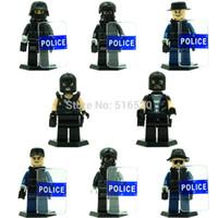 Wholesale Cheapest Set Building Blocks - Wholesale Cheap Doll D110 80pcs City Police Riot police Minifigures weapons Building Blocks Set Model Bricks Toys