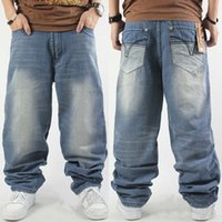Wholesale Jeans Large Hip Hop - Wholesale-Large Size Washed Denim Rock Jeans,2015 Autumn Winter Casual Straight Hip Hop Pants Trousers For Men's Clothes,Plus Size 30-46
