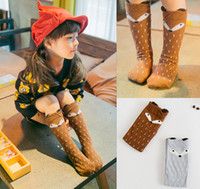 Wholesale Hot Cartoons Fox - New fashion hot sale latest fashion degins cartoon fox kids knee high baby girls socks free shipping