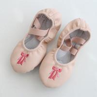 Wholesale Children Dance Bottom - Children dance shoes dance practice shoes soft soled ballet dance shoes soft bottom color PU bow embroidery A001