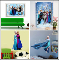 Wholesale Elsa Poster - Elsa Frozen Wall Stickers Removable Olaf Decoration Princess Decorative Wall Decall for Kids Rooms Poster Wall Paper Art
