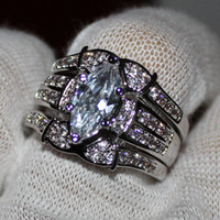 Wholesale Marquise Wedding Sets - Women's 925 Silver Filled Marquise-cut Simulated Diamond CZ Stone Wedding Triple Ring Sets