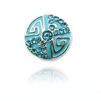 ingrosso gioielli di interscambio-Nuovo arrivo 12 millimetri bottoni a pressione in metallo blu strass fiore catenacci ganci Ginger DIY Interchange Chunk Jewelry Accessories
