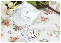 Wholesale Crown Bookmarks - 2015 NEW ARRIVAL100 PCS LOT Crown Bookmark in Elegant White Box Wedding Favor Baby Shower Gifts Free Shipping