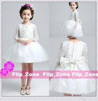 Wholesale Small Pageant Dresses - 2015 The latest small round neck long sleeve lace bowknot adornment flower girl dress to knee length Princess Pageant Ball Gown XS Short