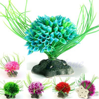 Großhandel 1 Stück Aquarium Künstliche pflanzen Wasserpflanzen Landschaft ornament kunststoff gras wasserpflanze Blume aquarium dekoration Decor
