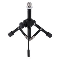 Wholesale Desktop Mic - MS-12 Durable Mini Foldable Desktop Tabletop Tripod Microphone Mic Stand Holder Non-slip Rubber Feet I1209