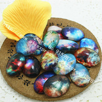 Wholesale Galaxy Trendy - 18*25mm Size Galaxy Cabochons 20pcs Mystical Galaxy Milky Way Round Glass Dome Cabochon Flat Back Embellishments New Style 0102