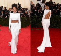 Wholesale rihanna dresses - Sexy Two Pieces Rihanna White Celebrity Dresses High Neck Backless Ruched Long Sleeves Sheath Sweep Train Custom Fashion Prom Evening Gowns