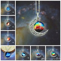 New Retail Star Moon Time Pendant Necklace Amethyst Moda Mulher Girl Lady Gift Jóia de vidro de liga