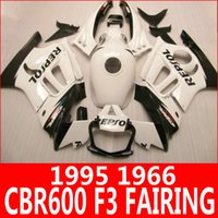 Wholesale Cbr Body Parts - Pure white REPSOL motorcycle fairing kit for Honda 95 96 CBR600 F3 fairings CBR 600 F3 1995 1996 body parts