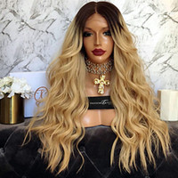 Wholesale Long Ombre Wigs - High Quality Ombre Wigs 1B 27# Black&Blond Long Curly Wavy Lace Front Wigs Heat Resistant Synthetic Lace Front Wigs for Black Women