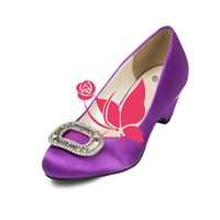 Wholesale Ivory Satin Wedge Heels - Brand New Cheap Shoes Puple Satin Heels Bridal Beaded Shoes Round Toe Wedding & Party Shoes WS0017P Customise Size 33 to 43