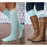 Wholesale Knee High Boots Free Shipping - Nice Lace Trim Knee High Boot Socks Women Cotton Knit Leg Warmer 20pairs lot Free shipping