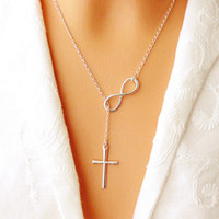 Wholesale Alloy Pendant Infinity - NEW Fashion Infinity Cross Pendant Necklaces Wedding Party Event 925 Silver Plated Chain Elegant Jewelry For Women Ladies free shipping