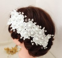 Wholesale Appliques For Hair - 2016 Hair Flowers Accessories Wedding Flowers Appliques Lace Beading Wedding Accessories Bridal Flowers for Hair New Cheap