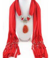 Wholesale Scarf Collar Pendant - Good Pendant Cotton Scarf Jewelry Women bib Collar scarf fashion natural multicolor agate pendant scarf jewelry Accessories scarf LD