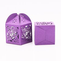 Wholesale Sweet Love Favour Box - Wholesale- 50pcs Candy Bags Free Shipping Love Heart Lase Cut Wedding Sweets Candy Gift Favour Boxes with Ribbon Table Decorations