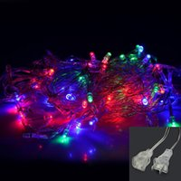 Wholesale Tail Plug Blue - Xman Christmas Eve Christmas Tree Multicolor Outdoor Decoration Lamps LED String Lights With Tail Plug 10M 100LED For Wedding Garden