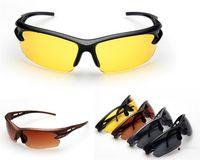 mens gece görüş gözlükleri toptan satış-12 Adet / grup Gece Görüş Gözlüğü Güneş Gözlüğü Sürüş Graced Gözlük Moda Erkek Spor Sürüş Güneş Gözlüğü UV Koruma 4 Renkler