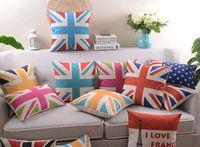 Wholesale Union Jack Flag Cotton Linen - British London Style The Union Jack Collection UK USA Flag Cushions Pillows Covers Eiffel Tower Cushion Cover Linen Cotton Pillow Case